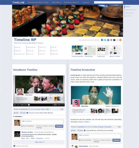 Facebook Timeline WordPress Theme | Bram.us