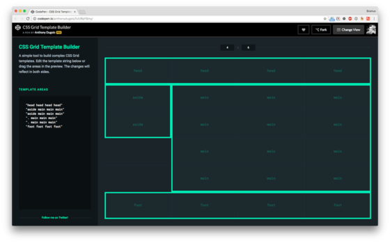 Css grid template builder bram a simple tool to build complex css grid templates edit the template string below or drag the areas in the preview the changes will reflect in both sides maxwellsz
