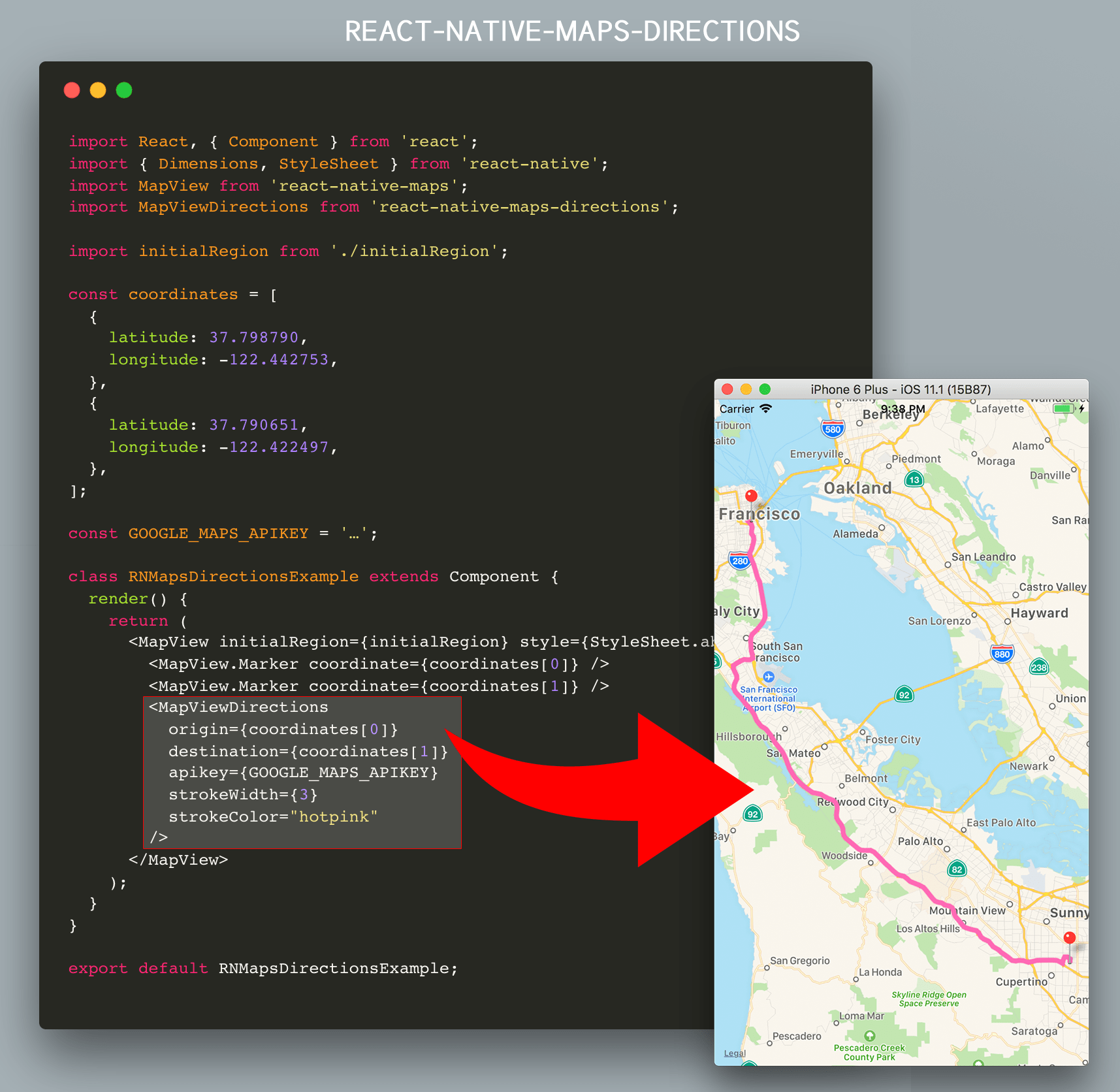 as routing is handled by the google maps directions api an apikey for use with google maps is also required