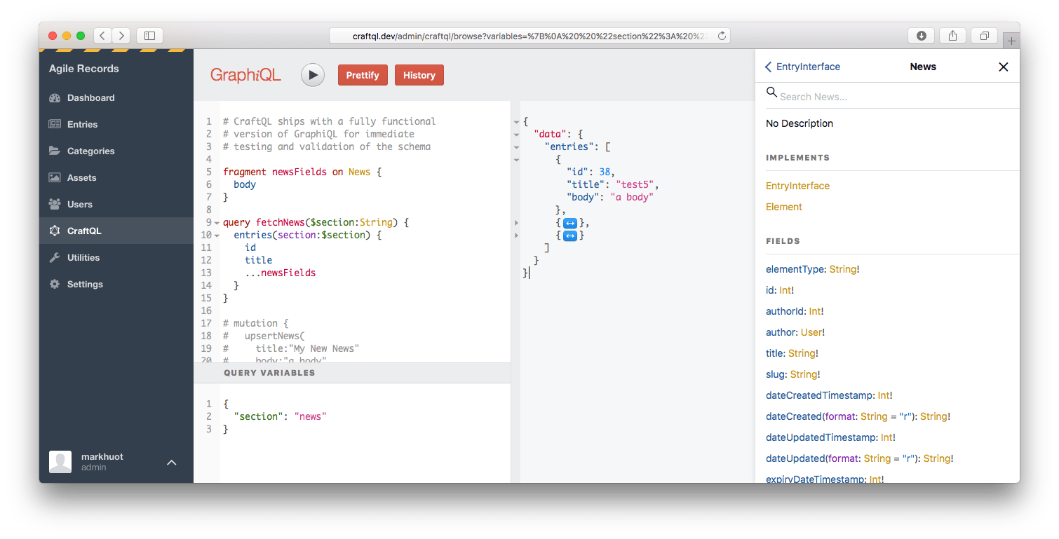 CraftQL – A drop-in GraphQL server for Craft CMS