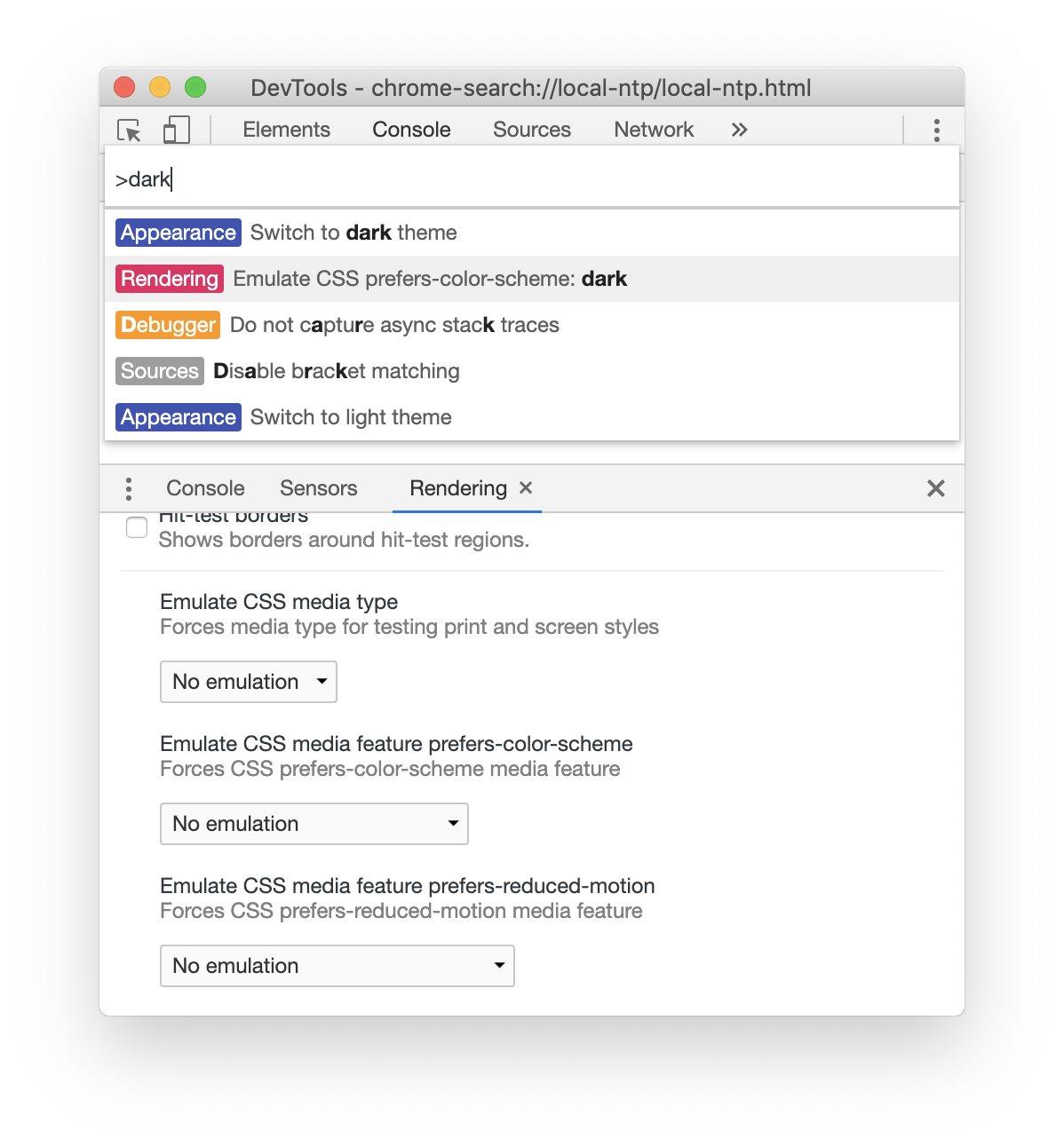 Emulate Dark Mode using Chrome DevTools – Bram.us