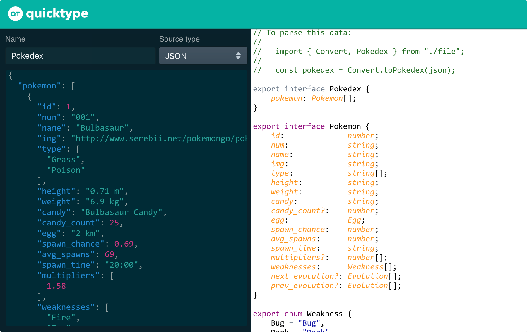 quicktype — Convert JSON into gorgeous, typesafe code in any language. – Bram.us